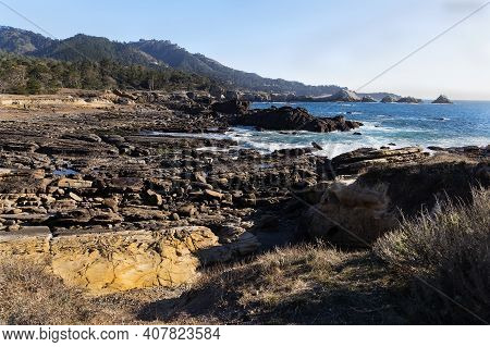Landscape With  Pacific Ocean And Rocky Shore. Point Lobos State Natural Reserve, California,usa