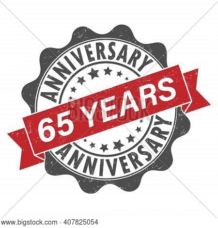 Stamp Impression With The Inscription 65 Years Anniversary. Old Worn Vintage Stamp. Stock Vector Ill