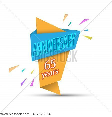 Anniversary 65 Years. Colored Banner For Congratulations And Thematic Design. Stock Vector Illustrat