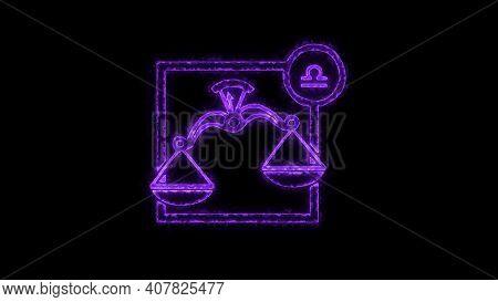 The Libra Zodiac Symbol, Horoscope Sign Lighting Effect Purple Neon Glow. Royalty High-quality Free