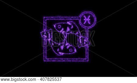 The Pisces Zodiac Symbol, Horoscope Sign Lighting Effect Purple Neon Glow. Royalty High-quality Free