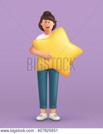 3d Cartoon Character. Young Woman Holding And Hugging A Big Star. Customer Review Rating And Client