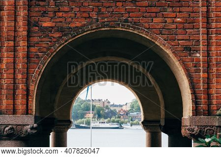 Stockholm, Sweden - August 8, 2019: Framed View Of The Port From The Town Hall Of Stockholm.