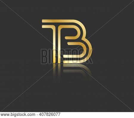 Gold Stylized Lowercase Letters T And B With Reflection Connected By A Single Line For Logo, Monogra