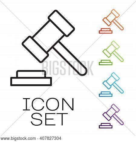 Black Line Judge Gavel Icon Isolated On White Background. Gavel For Adjudication Of Sentences And Bi