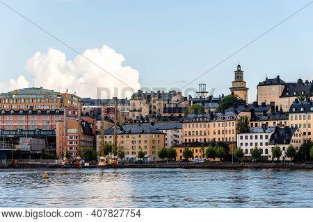 Stockholm, Sweden - August 8, 2019: Waterfront View Ugglan Quarter In Stockholm, Sweden.
