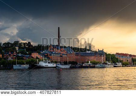 Stockholm, Sweden - August 8, 2019: Waterfront View Ugglan Quarter