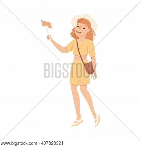 Young Woman Tourist Visiting Sights And Making Selfie, People Visiting New Countries And Travelling