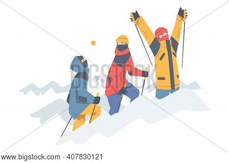 Man Character With Alpenstock Wearing Warm Clothing Ascending Mountain Vector Illustration