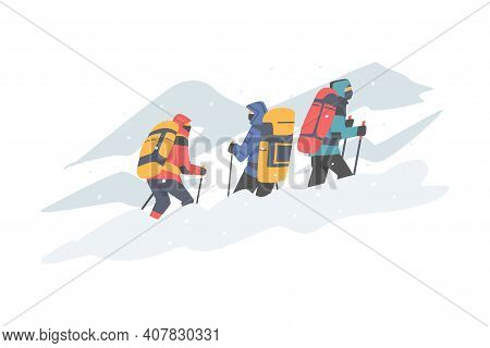 Group Of People With Backpack Ascending Mountain Vector Illustration
