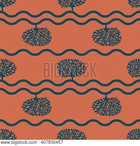Vector Cooper Terracotta Dark Blue Tree Curly Lines Hand Drawn Seamless Pattern Print Background.