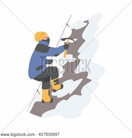 Man Character With Axe Holding Rope Ascending Mountain Vector Illustration