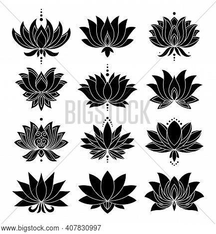 Otus Icons Set. Blooming Flowers. Monochrome Blooming Plants, Various Petals Black Symbols. Blossom,