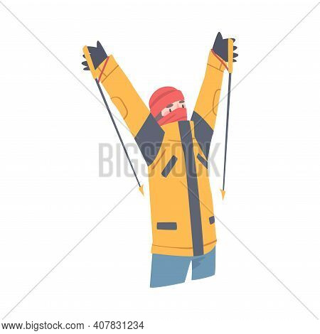 Man Character With Alpenstock Cheering About Ascending Mountain Peak Vector Illustration