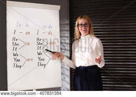 English Teacher Near Whiteboard In Class At Lesson