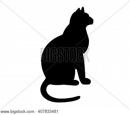 Black Cat Silhouette. Sitting Cat. White Background. Vector Illustration
