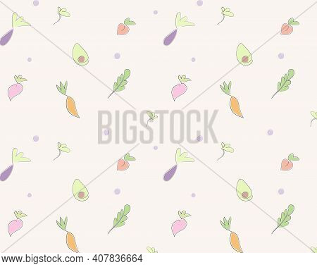 Pattern Of Vegetables And Fruits. Carrot, Eggplant, Peach, Avocado