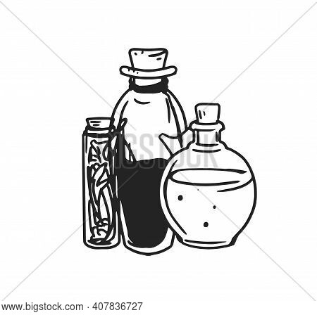Black And White Potion Jars With Magic Liquids. Old Corked Bottles And Vial Of Poison, Elixir, Mixtu