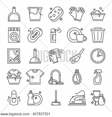 Cleaning Icons Set Vector Isolated. Bucket, Mop, Spray And Sponge. Collection Of Housework Symbols.