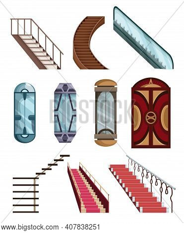 Lift Mechanisms Or Elevators Collection And Stairs Set. Doors Of Cabins To Mechanical Lift. Isolated