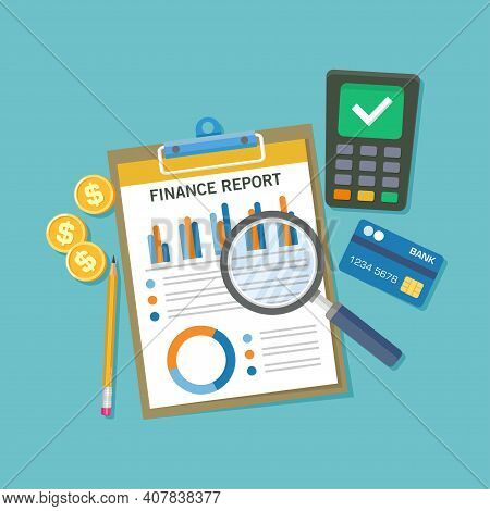 Flat Vector Illustration Of A Table Top View With Financial Statement Document. Suitable For Design