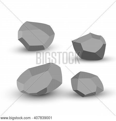 Cartoon Stones. Rock Stone Isometric Set. Granite Grey Boulders, Natural Building Block Shapes, Wall