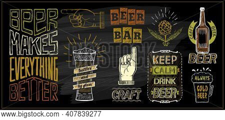 Chalk beer menu board - beer bar, keep calm drink beer, craft beer, etc. Raster version