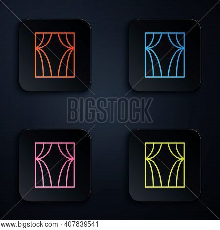 Color Neon Line Circus Curtain Raises Icon Isolated On Black Background. For Theater Or Opera Scene