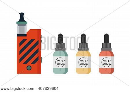 Vaping Device And Accessory Set. Electronic Cigarette And Bottles With Vape Liquid. E-juice Dropper