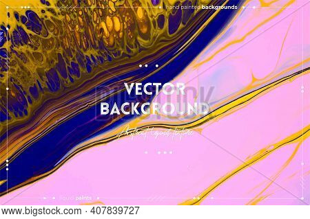 Fluid Art Texture. Backdrop With Abstract Iridescent Paint Effect. Liquid Acrylic Picture With Color