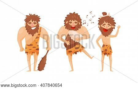 Hairy Bearded Stone Age Man Character Wearing Animal Skin Holding Stick And Beating The Drum Vector