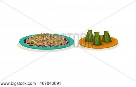 Noodles With Greenery And Stuffed Green Leaves As Malaysian Cuisine Dishes Served On Plate Vector Se