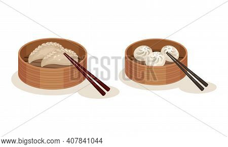Dumplings Rested In Wooden Bowl With Chopsticks As Malaysian Cuisine Dishes Vector Set