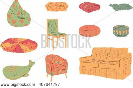 Set, Collection Of Hand Drawn Cosy Soft Places. Colored With Decorations. Vector Illustration.