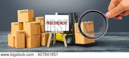 Yellow Forklift Truck With Cardboard Boxes And Stand With The Word Procurement. Logistics, Warehousi