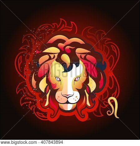 Leo Zodiac Astrological Sign In Round Shape Isolated On White Background, In The Gothic Style, Horos