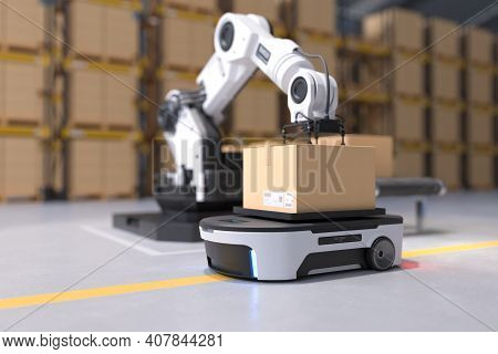 The Robot Arm Picks Up The Box To Autonomous Robot Transportation In Warehouses, Warehouse Automatio