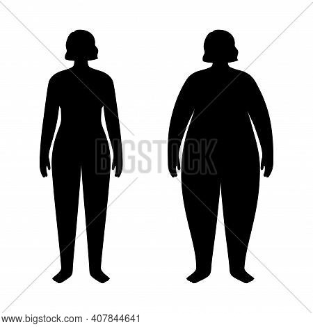 Woman Silhouettes With Obese And Slim Fit. Female Persons With Normal Weight And Overweight. Bmi Ran