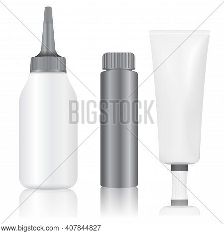 Dye Hair Color Paint Tube Bottle Package Mockup. Isolated Hair Product Silver Packaging. Woman Makeu