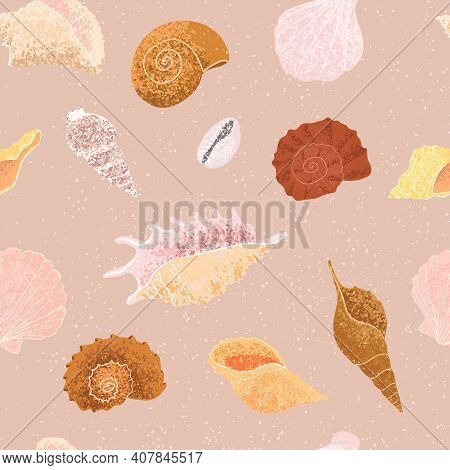 Seamless Pattern With Colorful Hand Drawn Illustrations Of Seashell