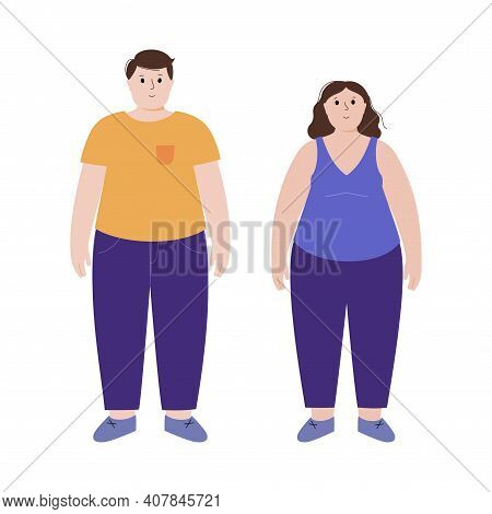 Obese Woman And Man Silhouettes. Person With Overweight. Female And Male Persons With High Fat Level