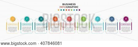 Business Infographic Design Template Vector With Icons And 9 Nine Options Or Steps.