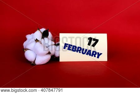 February 17 On A Yellow Sticker.next To It Is Cotton On A Red Background .last Month Of Winter.calen