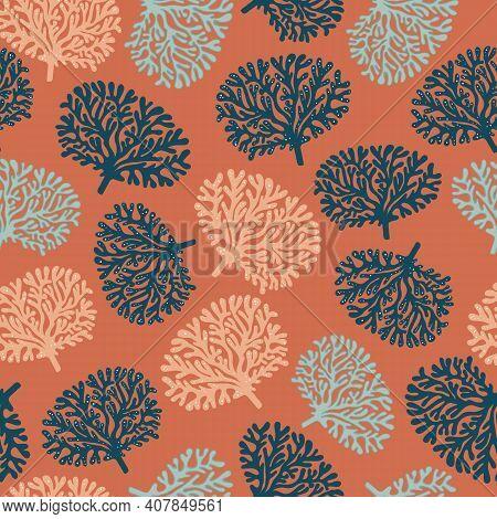 Vector Cooper Terracotta Dark Blue Coral Tree Hand Drawn Seamless Pattern Print Background.