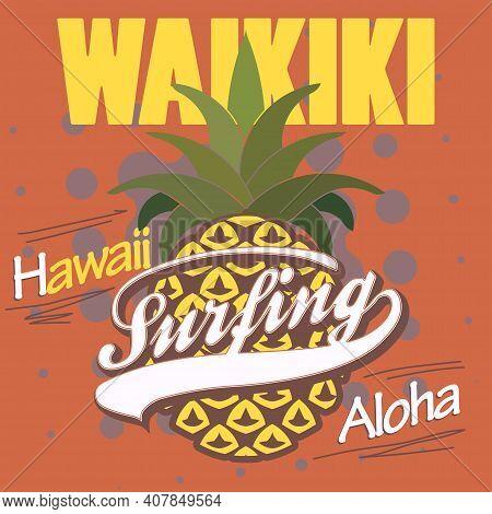 Surfing T-shirt Graphic Design. Hawaii Print Stamp. Vector