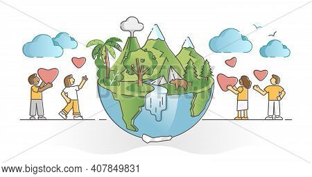 Earth Loving And Care As Sustainable Ecosystem Protection Outline Concept