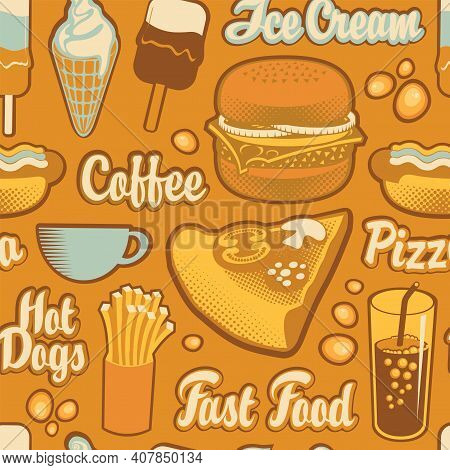 Seamless Pattern With Pizza, Burger, French Fries, Ice Cream, Cola, Coffee And Hot Dog In Retro Styl