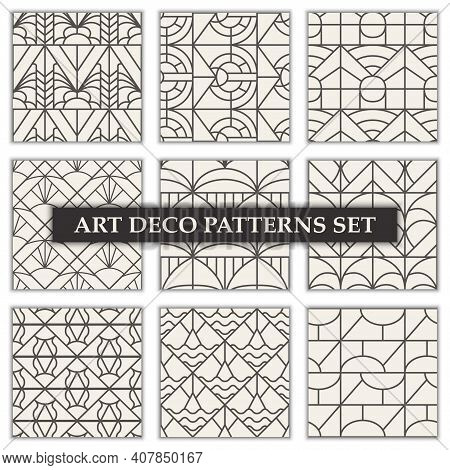 Art Deco Patterns Set. Seamless Black And Gold Backgrounds.