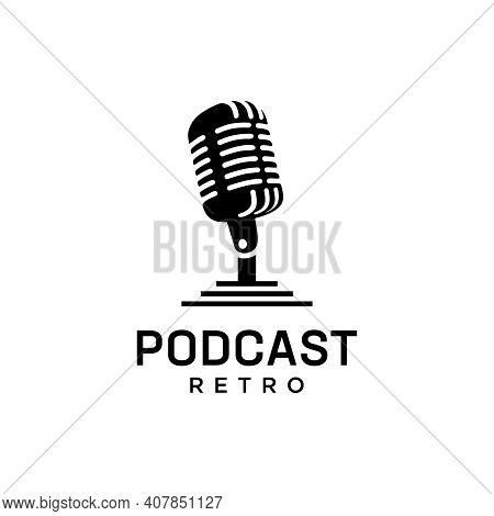 Retro Podcast Usable Logo Template. Logo Can Be Used For Music, Sound, Icon, Vintage, And Business C