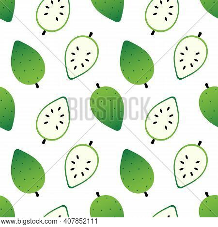 Soursop, Guanabana Fruit Whole And Cut In Half Vector Seamless Pattern Background.